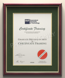 University Degree Certificate Framing for your University in Brisbane, Sydney, Melbourne, Adelaide, Canberra, Perth and Tasmania.