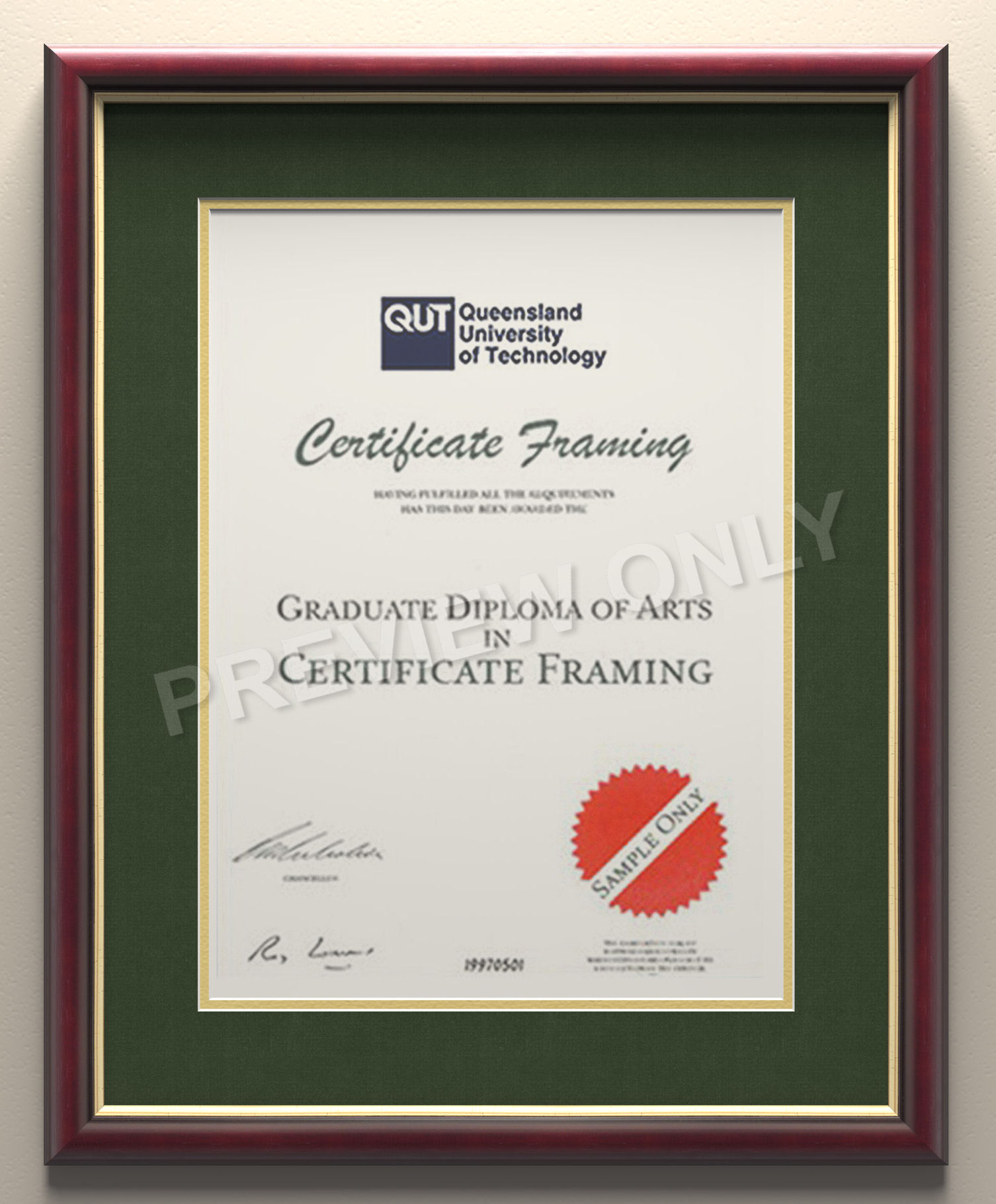 Certificate Frames for your University of Wollongong Degree.