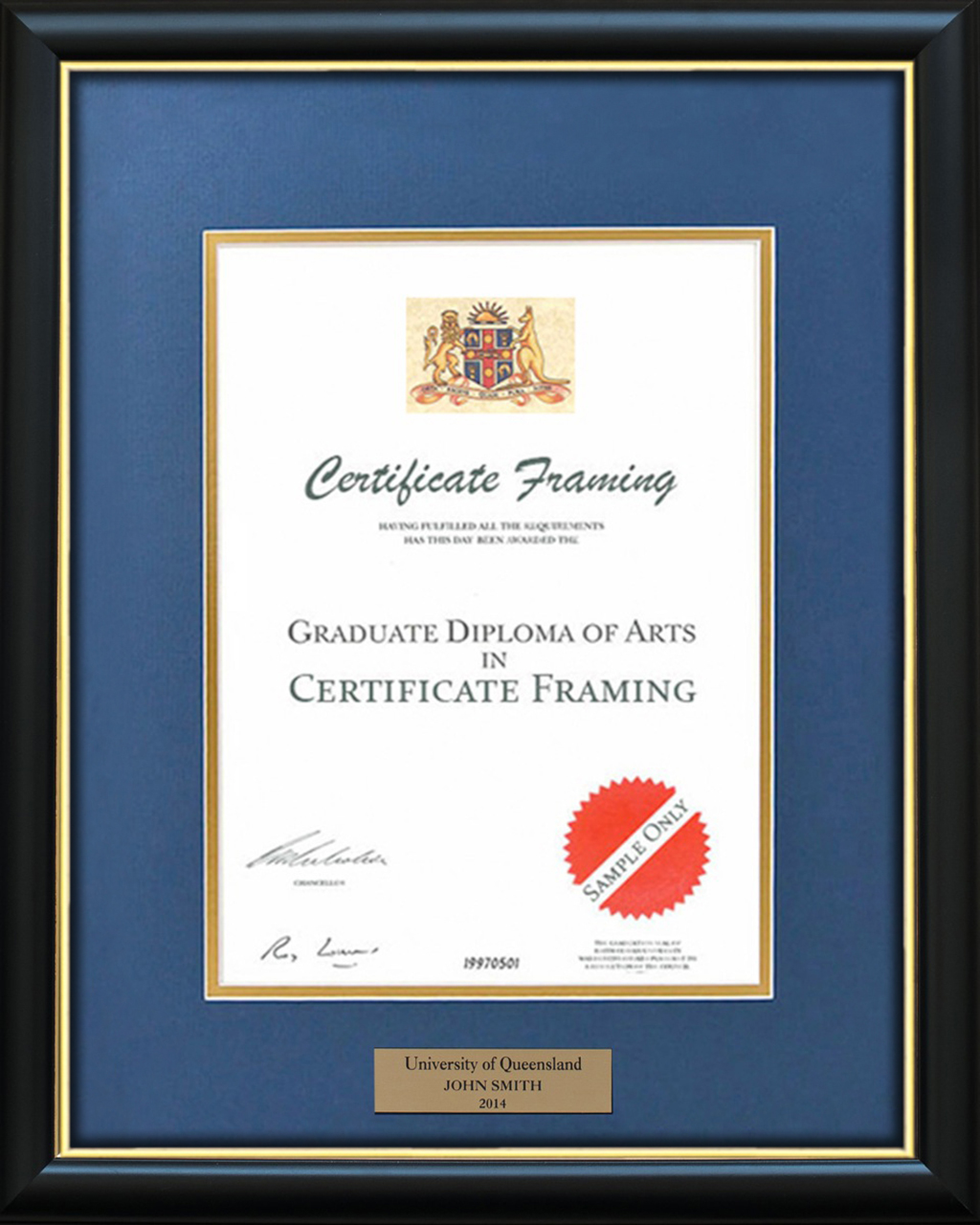 Certificate Frames for a University of Newcastle Degree. UON