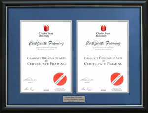 University Degree Frames handmade to fit the graduation certificate from your University in Brisbane, Sydney, Melbourne, Adelaide, Canberra, Perth and Tasmania.