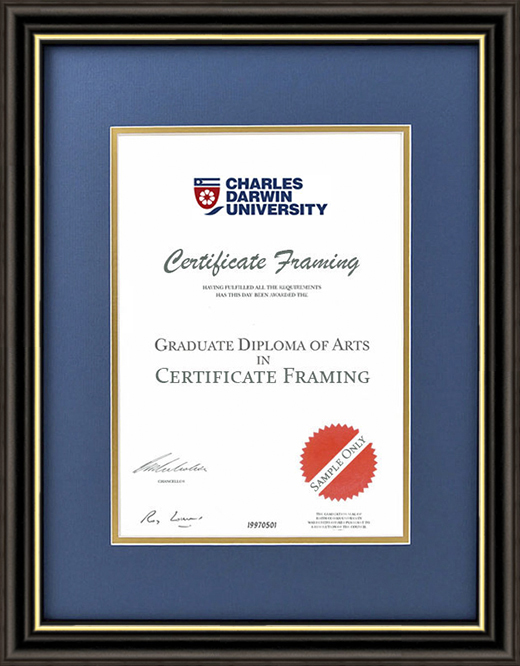 Certificate Frame for your Charles Darwin University Degree.
