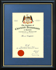 At our Certificate Frame Shop your frame is handmade to enhance the prestige of your Institute of Chartered Accountants Certificate.