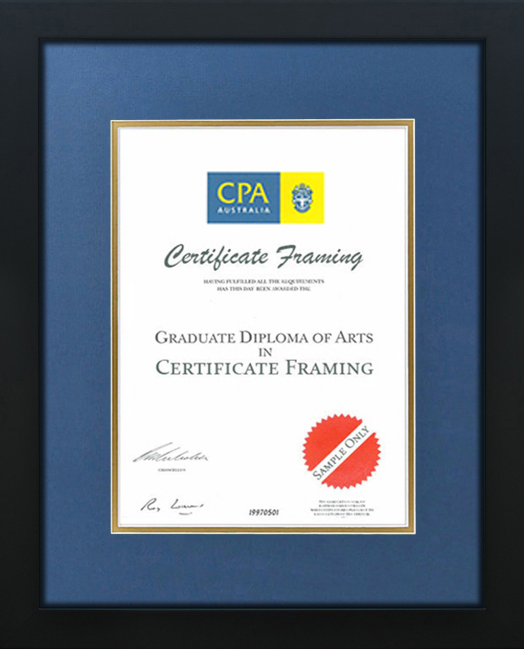 Cpa australia certificate frame cpa certificate frames cpa black blue gold xflitez Images
