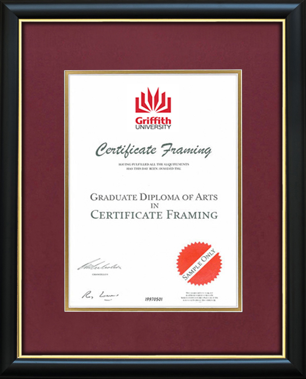 Certificate Frames for a Griffith University Degree. Graduation
