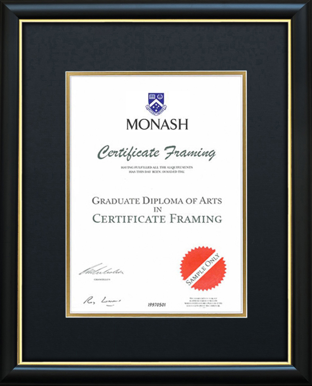 Certificate Frame for a Monash University Degree. Graduation