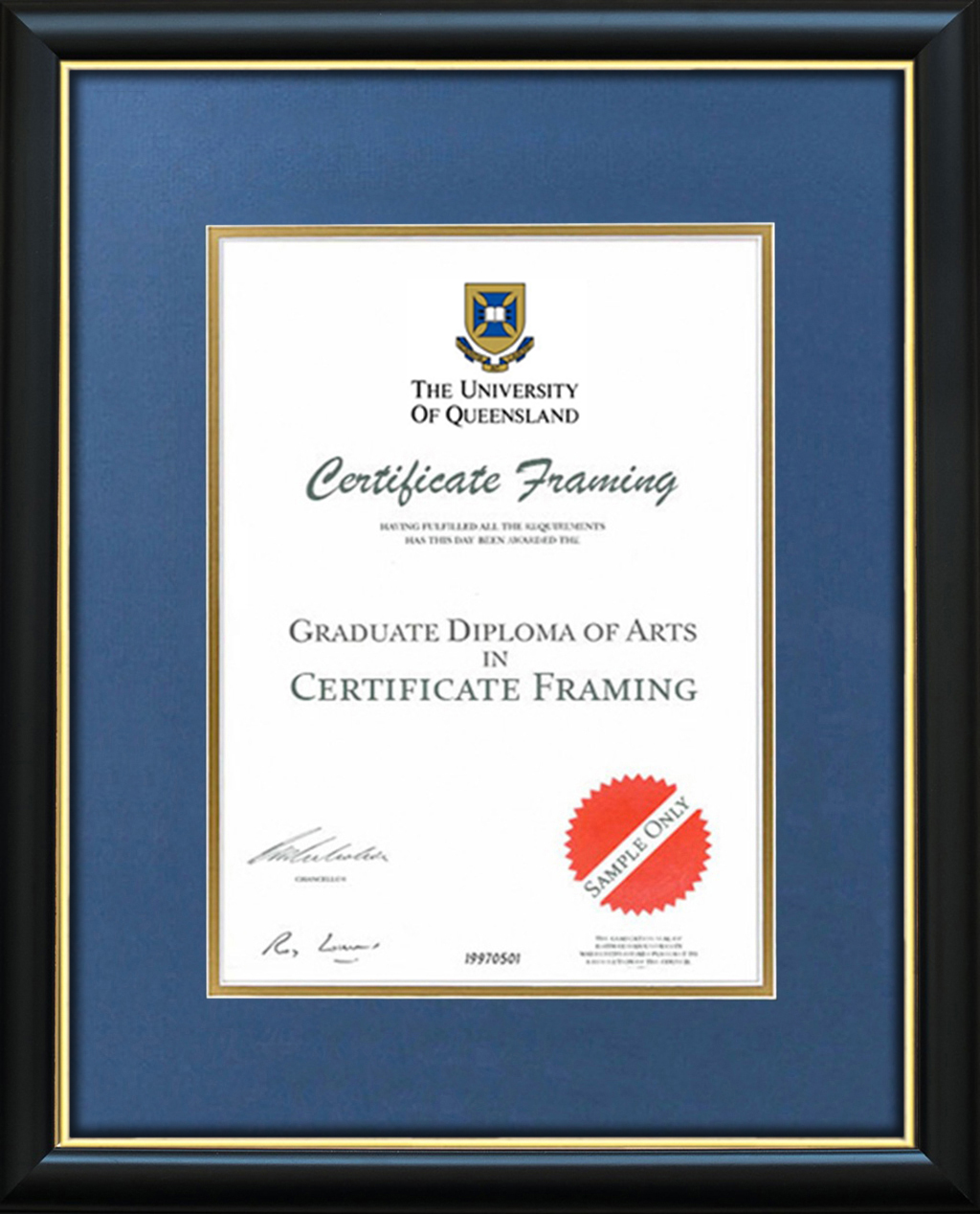 Certificate Frames for a University of Queensland Degree. UQ