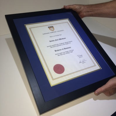 Certificate Frame for a Victoria University Degree. Graduation